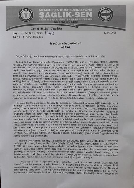 Sağlık-sen Adana Şube Başkanı Nennioğlu'nun yazmış Olduğu Mektup
