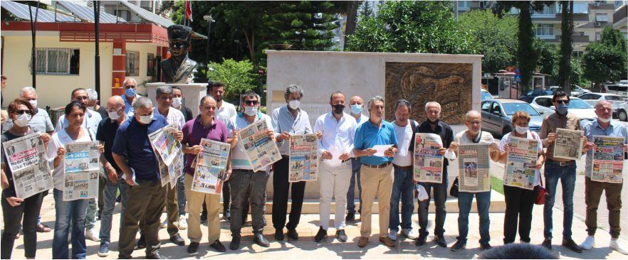 Çukurova Gazeteciler Cemiyeti ve TGS Adana Şubesi'nin ortaklaşa düzenlediği basın açıklaması,